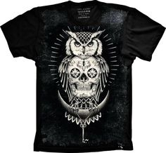 Camiseta Skull - Caveira Mexicana Coruja - Banca de Camisetas - Opções que combinam com seu jeito.