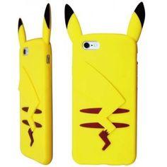 Softbank au iphone用シリコンケース アップルアイフォン対応ソフトカバーピカチュウ型 3D立体かわいい カートンキャラクターSilicone soft case for iphone6イエロー黄