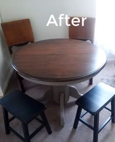 Use this 4 step process to Refinishing a Wood Dining Table with dark gel stain without stripping the original top coat Gel Stain Furniture, Furniture Redo, Painted Furniture, Refinish Dining Tables, Refinished Table, Wood Staining Techniques, Viva Paper Towels, Crate Side Table, Pine Table