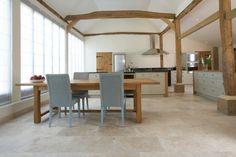 contemporary barn conversion - open plan kitchen/dining - Tumbled Aspendos Travertine floor tiles