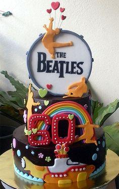 The Beatles Birthday Cake. Beatles Cake, The Beatles, Fancy Cakes, Cute Cakes, Beatles Birthday Party, 60th Birthday, Birthday Memes, Beautiful Cakes, Amazing Cakes