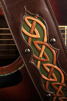 Leather Guitar Strap Celtic Guitar Strap by EthosCustomBrands, $275.00