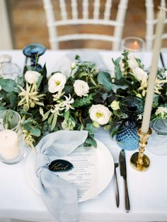 Pastel Blue & Green Destination Wedding at Corfu Luxury Villas, Planned by Rosmarin Weddings & Events Casual Wedding Reception, Wedding Reception Flowers, Wedding Table, Floral Wedding, Wedding Ideas, Wedding Details, Teal And Grey Wedding, Navy Wedding Colors, Star Wedding