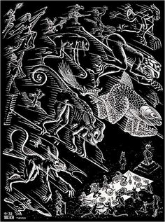 """Skot Foreman Gallery M. Escher """"Scholastica (Last Night)"""" 1932 Woodcut 9 x 6 in 23 x 17 cm from the intended edition of 300 Initialed in the plate """"MCE"""" lower left corner Bool 201 © The M. Escher Company B. Escher Paintings, Escher Art, Mc Escher, Escher Drawings, Magritte, Delft, Mathematical Drawing, Graphic Artwork, Art Database"""