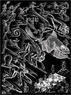 M. C. Escher- Scholastica...Illustration, page 21. October 1932, Woodcut.