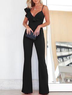 2018 New Fashion Elegant Women Office Sleeveless Slinky Jumpsuit Solid Ruffle Asymmetrical Neck Flared Jumpsuit Women's Summer Fashion, New Fashion, Womens Fashion, Ladies Fashion, Fashion 2018, Cheap Fashion, Fashion Online, Mode Outfits, Fashion Outfits
