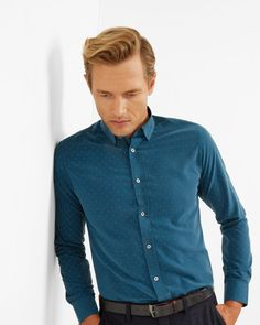 Geo print cotton shirt - Teal | Shirts | Ted Baker