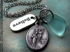 Fertility Necklace. St Gerard or Annunciation. by SeaBeachGlass, $35.00