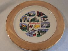 Washington State Souvenir Plate Trimmed in Gold 10 1/4 inch Plate by PurveyorsOfFineJunk on Etsy