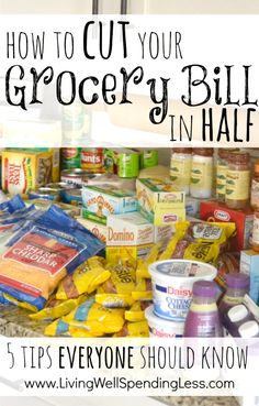 How to cut your grocery bill in half {5 tips everyone should know!} These five simple strategies can save you hundreds each month on the food your family already buys. A must read!