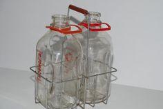 Vintage Milk Bottles With Metal Carrier by Nogginsandnapes on Etsy, $35.00