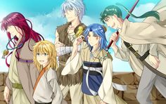 Akatsuki no Yona / Yona of the dawn anime and Manga || original dragon warriors. king Hiryuu, Abi, Shuten, Guen, and Zeno