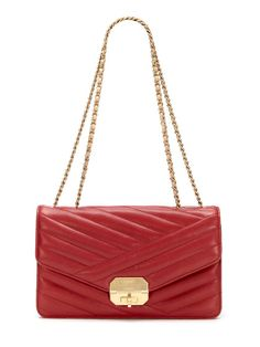 Chanel Red Chevron Quilted Lambskin Leather Flap Bag