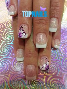 Acrylic Nails French with Glitter and designs painted freehand  Hazte Fans o Me Gusta  en https://www.facebook.com/topnails.cl   www.topnails.cl ☎94243426, saludos Beatriz