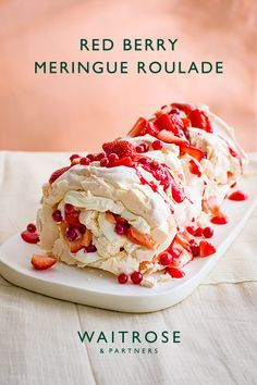 Crispy and chewy meringue roulade filled with fresh whipped cream and seasonal British berries. Serve as a summer afternoon tea or impressive dinner party dessert. Tap for the full Waitrose & Partners recipe. Meringue Cookie Recipe, Meringue Desserts, Just Desserts, Meringue Recept, Vegan Meringue, Strawberry Meringue, Meringue Frosting, Chocolate Meringue, Meringue Powder