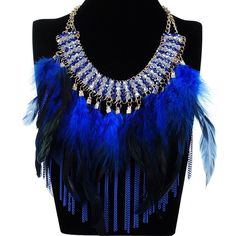 New Beauty Jewelry Feather Tassels Chain Crystal Collar Bib Pendant Necklace Hot #Unbranded