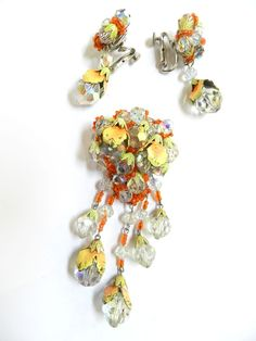Vintage Parures @ Ruby Lane - Exquisite Drippy Vintage Vendome Crystal Brooch and Earrings