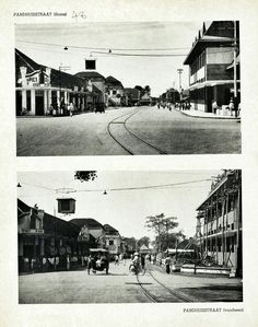 Pandhuisstraat te Malang thans (boven) en voorheen (onder) circa 1939. Malang, Louvre, Street View, Building, Travel, Viajes, Buildings, Destinations, Traveling