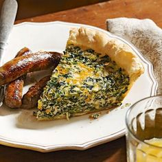 Spinach Quiche: Egg doesn't overpower this quiche packed with nutrient-rich spinach.  More quiche recipes: http://www.midwestliving.com/food/breakfast/quiche-recipes-for-any-meal/page/5/0