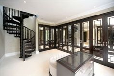 Mirrored closet with stairs