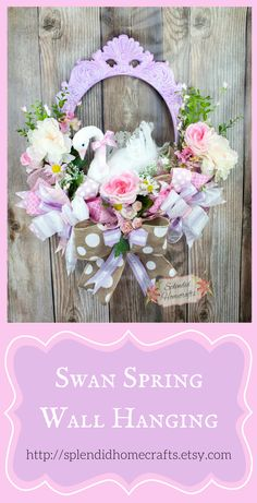 Spring Floral Wreath, Spring Wall Hanging, Swan Wreath, Spring Wall Decor, Floral Wall Hanging, Spring Floral Frame, Baby Girl Wreath by Splendid Homecrafts on Etsy #wreath #spring Easter Wreaths, Baby Wreaths, Christmas Wreaths, Summer Wreath, Spring Wreaths, Frame Wreath, Door Wreath, Mothers Day Wreath, Spring Home Decor