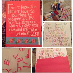 """DIY canvas wall art! Made this one for a friend to put up in her dorm room. Jeremiah 29:11 with some """"hotty pink"""" Lily Pulitzer roses to match her bedding"""