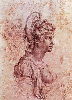 Michelangelo (1475-1564) ~ Zenobia, Queen of  Palmyra, c.1520-25, charcoal on paper, Uffizi, Florence, Italy. Michelangelo has depicted the Empress bare breasted in three-quarter profile with elaborate braided hair.