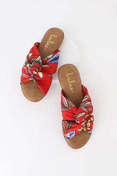 383b013ce00b Cute Red Multi Print Sandals - Vegan Sandals - Slide Sandals