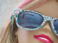 Cottage Chic SUNGLASSES  White with Pink by thejoanandlucyshow