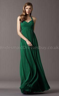 A-line V-neck,Halter Dark Green long Bridesmaid Dresses,Green Bridesmaid Dresses