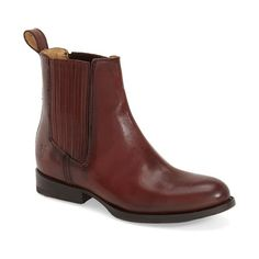 """Frye 'Jamie' Chelsea Boot, 1"""" heel ($348) ❤ liked on Polyvore featuring shoes, boots, ankle booties, ankle boots, dark brown leather, leather bootie, dark brown leather boots, leather ankle booties y short heel boots"""