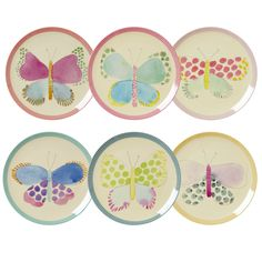 Beautiful new Butterfly print melamine plates by RICE DK at www.pinksandgreen.co.uk