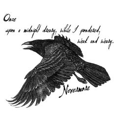 The Raven by Edgar Allan Poe Edgar Allen Poe Tattoo, Edgar Allen Poe Quotes, Crow Art, Raven Art, The Raven Poem, Raven Quotes, Poem Tattoo, Quoth The Raven, Raven Tattoo