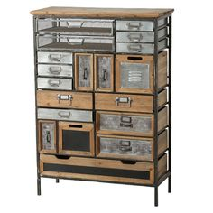 17 Drawers and 2 bins make this industrial multi-drawer chest an eye-catching piece that captures the essence of reclaimed. Set in a sturdy distressed iron frame and topped with a solid wood top, this chest has been designed using a clever mix of materials that includes galvanized metal, fir wood, metal screening and more. Wood Drawers, Chest Of Drawers, Accent Chest, Industrial Chic, Industrial Drawers, Industrial Furniture, Honey Colour, Galvanized Metal, Accent Pieces