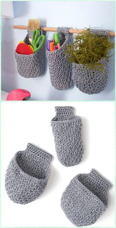 Crochet Hanging Baskets on Dowel Free Pattern - Crochet Plant Pot Cozy Free Patterns