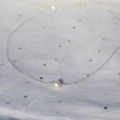 Collier perle de culture / nacre & argent massif 925, idée cadeau, bijou fin, délicat, minimaliste, myo jewel