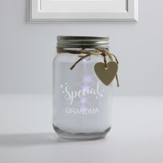 Personalised White Glass Jar With Led Lights - Special