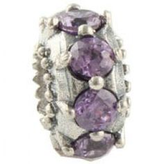 Gems and Silver Light Purple Crystal Flower Birthstone Charms  Fit pandora,trollbeads,chamilia,biagi,soufeel and any customized bracelet/necklaces. #Jewelry #Fashion #Silver# handcraft #DIY #Accessory