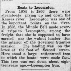 Steamboats visited Lecompton on the Kansas River...@ArabiaSteamboat