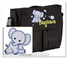 Personalized diaper bag for boy or girl - elephant applique