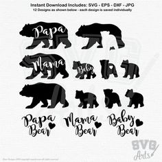 Mama & Papa Bear with 3 Baby Bear Designs + Script Mama, Papa, Baby, Brother, Sister Bear Text Desig Baby Bear Tattoo, Cubs Tattoo, Bear Tattoos, Son Tattoos, Script Lettering, Lettering Design, Bear Silhouette, Momma Bear, Bear Design