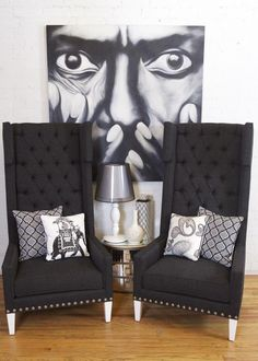 Tangier Wing Chair Dark Gray Tweed - room service furniture