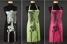 skeleton aprons for halloween. (or for a doctor who likes to cook)