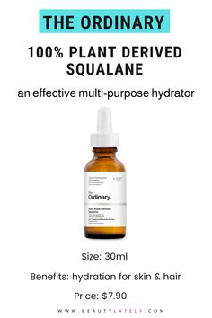 Do you know the difference between squalane and squalene? Here's an in-depth review and guide to The Ordinary 100% Plant-Derived Squalane, a vegan, oil-free formula that hydrates and protects the skin. The Ordinary Serum, The Ordinary Products, The Ordinary Skincare, Non Comedogenic Oils, Flaky Skin, Skin Elasticity, Acne Prone Skin, Beauty Care, Plant