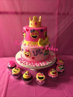 Pink Emoji Cake and Cupcakes!