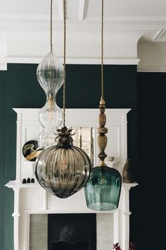 Standing, Flora and Spindle pendant lights on a 3 drop chandelier by Rothschild . - Standing, Flora and Spindle pendant lights on a 3 drop chandelier by Rothschild & Bickers Ltd. Decor, Interior, Interior Light Fixtures, Interior Lighting, Light Fixtures, Home Lighting, Lights, Pendant Lighting, Trendy Home