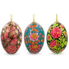 "3"" Set of 3 Flowers Ukrainian Easter Eggs Wooden Ornaments"