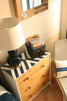 Ikea Rast Hack! Using paint and stain to make a plain nightstand into a fun one!