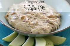 Pebbles & Piggytails: Easy 3 Ingredient Toffee Dip for Apples. Cream cheese, toffee chips and brown sugar. Optional, add cinnamon