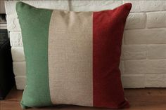 18inch Printing Itay Flag Pillow Case, Cotton Linen Cushion Cover, Green Red Stripe Bedding Pillow Cover. $17.00, via Etsy.
